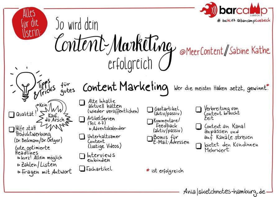 Ania|sketchnotes-hamburg.de - So wird dein Content-Marketing erfolgreich - Meer Content
